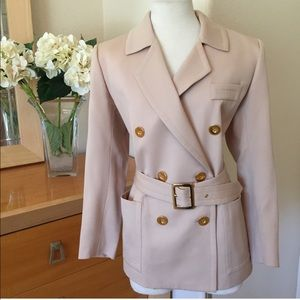 Yves Saint Laurent: Blush wool trench, Size 6